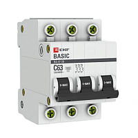 Выключатель автоматический EKF ВА 47-29 3P 50А (С) 4.5кА / mcb4729-3-50C -