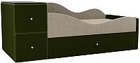 Кровать-тахта Mebelico Дельта правый / 101721 (микровельвет, бежевый/зеленый) -