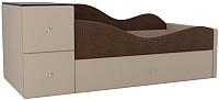 Кровать-тахта Mebelico Дельта правый / 101729 (рогожка, коричневый/бежевый) -
