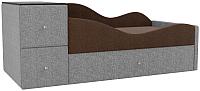 Кровать-тахта Mebelico Дельта правый / 101730 (рогожка, коричневый/серый) -