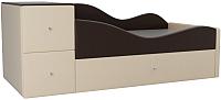 Кровать-тахта Mebelico Дельта правый / 101733 (экокожа, коричневый/бежевый) -