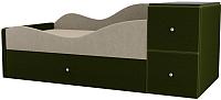 Кровать-тахта Mebelico Дельта левый / 101721 (микровельвет, бежевый/зеленый) -