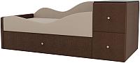 Кровать-тахта Mebelico Дельта левый / 101727 (рогожка, бежевый/коричневый) -