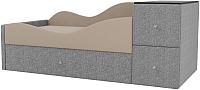 Кровать-тахта Mebelico Дельта левый / 101728 (рогожка, бежевый/серый) -