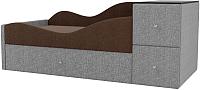 Кровать-тахта Mebelico Дельта левый / 101730 (рогожка, коричневый/серый) -