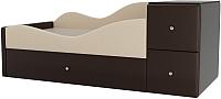 Кровать-тахта Mebelico Дельта левый / 101731 (экокожа, бежевый/коричневый) -