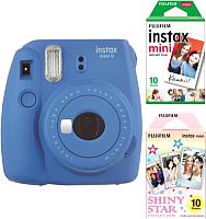 Фотоаппарат с мгновенной печатью Fujifilm Instax Mini 9 с пленкой Instax Mini 10шт + Instax Mini Star 10шт (синий) -