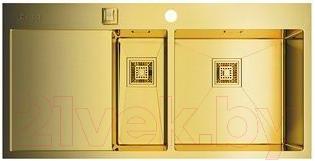 Купить Мойка кухонная Omoikiri, Akisame 100-2-LG-R (4993090), Япония, нержавеющая сталь с PVD-покрытием