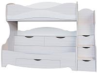 Двухъярусная кровать SV-мебель Акварель 1 Ж 80x200 (ясень анкор светлый/белый матовый) -
