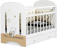 Детская кроватка Альма-Няня Amici Nuvola (маятник с ящиком, белый) -