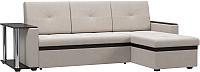 Диван угловой Woodcraft Атланта-М вариант 3 со столиком (светлый велюр/темно-коричневый кожзам) -