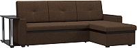Диван угловой Woodcraft Атланта-М вариант 9 со столиком (коричневая рогожка/темно-коричневый кожзам) -