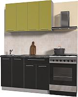 Готовая кухня Интерлиния Мила Пластик 1.2 А (черный глянец/оливковый глянец/кастилло темный) -