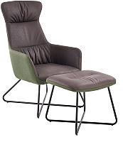 Комплект мягкой мебели Halmar Tinto с подставкой для ног (темно-серый/темно-зеленый/черный) -