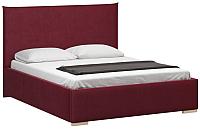 Двуспальная кровать Woodcraft Ницца 160 вариант 8 (малиновый велюр) -