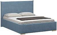 Двуспальная кровать Woodcraft Ницца 180 вариант 1 (искусственная шерсть/васильковый) -