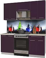 Готовая кухня Интерлиния Мила Пластик 1.8 А (слива глянец/опал светлый) -