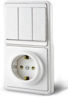 Блок выключатель+розетка TDM SQ1813-0003 -