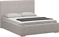 Двуспальная кровать Woodcraft Валенсия 160 вариант 4 (искусственная шерсть/топленое молоко) -