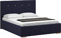 Двуспальная кровать Woodcraft Валенсия 160 вариант 7 (темно-синий вельвет) -