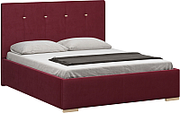 Полуторная кровать Woodcraft Валенсия 140 вариант 5 (малиновый велюр) -