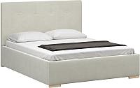Двуспальная кровать Woodcraft Валенсия 140 вариант 6 (белый бархат) -