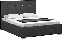 Двуспальная кровать Woodcraft Валенсия 180 вариант 11 (искусственная шерсть/грифельно-серый) -