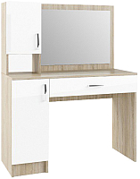 Туалетный столик с зеркалом ДСВ Софи СМС 1100.1 (сонома/белый глянец) -