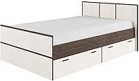 Двуспальная кровать ДСВ Весна КРВ 1600.1 (венге цаво/дуб белфорд) -
