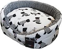 Лежанка для животных AntePrima Nathalie / NADOGNER03 (бело-черный/принт собачки) -