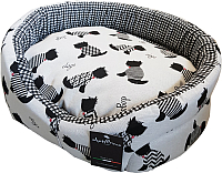 Лежанка для животных AntePrima Nathalie / NADOGNER05 (бело-черный/принт собачки) -