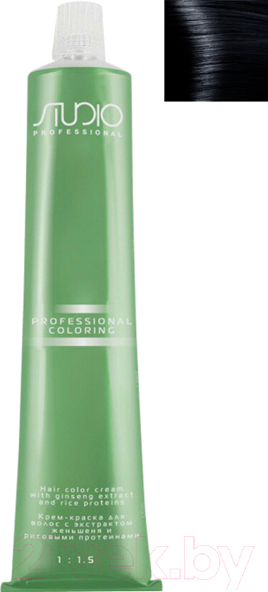 Купить Крем-краска для волос Kapous, Studio Professional с женьшенем и рисовыми протеинами 1.10 (иссиня-черный), Италия, чёрный