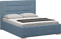 Двуспальная кровать Woodcraft Рона 160 вариант 3 (искусственная шерсть/васильковый) -