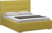 Двуспальная кровать Woodcraft Рона 160 вариант 5 (горчичный велюр) -