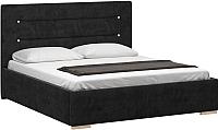 Двуспальная кровать Woodcraft Рона 160 вариант 8 (черный велюр) -