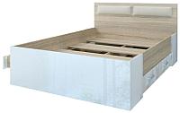 Полуторная кровать Памир Беатрис КР1400 4Я (белый глянец/дуб сонома) -