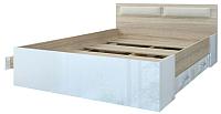 Двуспальная кровать Памир Беатрис КР1600 4Я (белый глянец/дуб сонома) -