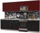Готовая кухня Интерлиния Мила Пластик 2.9 А (черный глянец/бордо глянец/опал светлый) -
