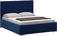 Двуспальная кровать Woodcraft Шерона 160 вариант 1 (бархат черный сапфир) -