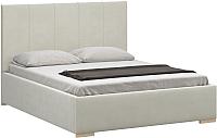 Двуспальная кровать Woodcraft Шерона 160 вариант 3 (белый бархат) -