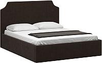 Полуторная кровать Woodcraft Довиль-П 140 вариант 6 (шоколадный велюр) -