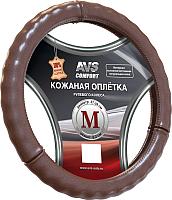 Оплетка на руль AVS GL-665M-BR / A78670S (M, коричневый) -
