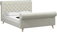 Двуспальная кровать Woodcraft Рердаль-Н 180 вариант 2 (белый бархат) -
