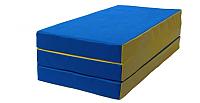 Гимнастический мат No Brand Складной 1.5x1x0.1м (синий/желтый) -