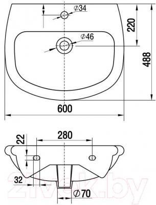 Умывальник Керамин Верона 60 Premium (с отверстием) - габаритные размеры