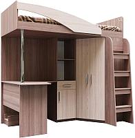 Кровать-чердак SV-мебель Город Ж 90x200 комбинированная (ясень шимо темный/ясень шимо светлый) -