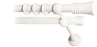 Карниз для штор Lm Decor Гиро 071 2р гладкий 25/19мм (белый глянец, 2.4м) -