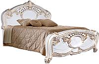 Двуспальная кровать Мебель-КМК Розалия 0456.1-02 (белый/патина золото) -