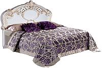 Двуспальная кровать Мебель-КМК Розалия 0456.1-03 (белый/патина золото) -