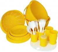 Набор пластиковой посуды Белпласт Пикник с215-2830 (желтый) -